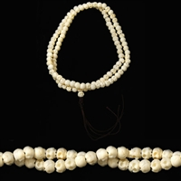 Hand Carved Bone Skull Mala - 108 Beads