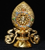 Gold Plated Wheel of Dharma with Banner