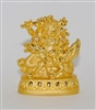 White Dzambala Gold Plated with Gem Studded Statue - 2.3 Inch