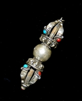 Silver Dorje with Turquoise & Coral from Bhutan