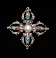 Antique Double Silver Dorje with Turquoise & Coral from Bhutan