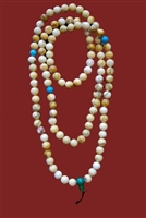 Tibetan Snow Crystal & Turquoise Mala - 108 Beads -7 mm