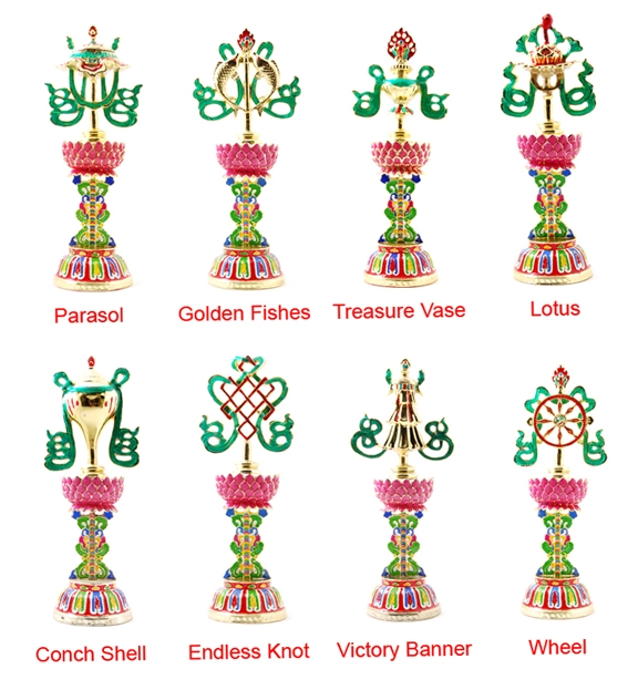 24 Carat Gold Plated Double Sided Eight Auspicious Symbols Set