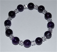 Amethyst  & Quartz Crystal  Bracelet 10MM
