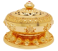 24 Carat Gold Plated Eight Auspicious Symbols Incense Burner