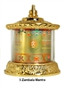24 Carat Gold Plated Five Dzambhala Mantra Table Top Prayer Wheel