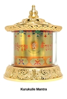 Gold Plated Kurukulle  Mantra Table Top Prayer Wheel