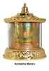 Gold Plated Five Amithaba  Mantra Table Top Prayer Wheel
