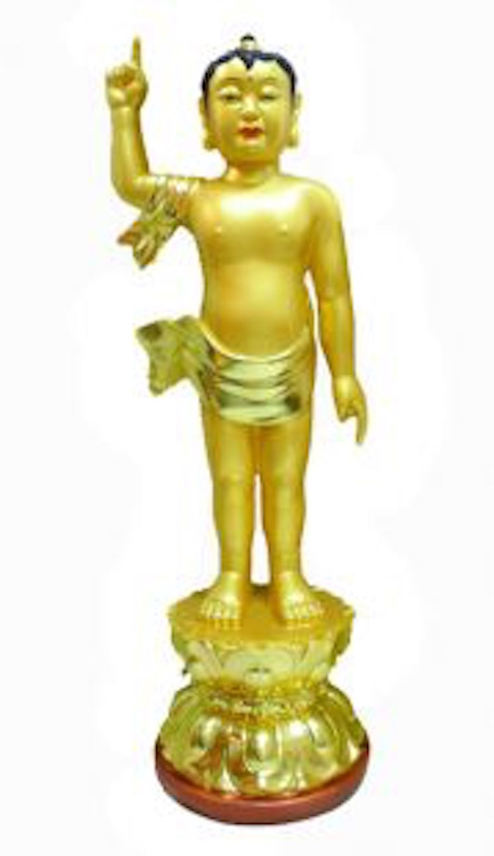 24 Carat Gold Plated Resin New Baby Buddha 16 Inches