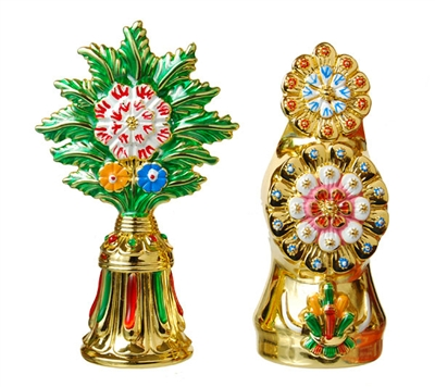 24 Carat Gold Plated Flower & Food Torma Set
