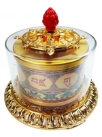 Large Gold Plated Guru Rinpoche Mantra Table Top Prayer Wheel