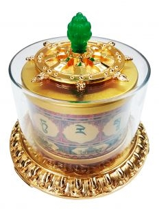 Large Gold Plated Green Tara Mantra Table Top Prayer WheelLarger Gold Plated Chenrezig Mantra Table Top Prayer Wheel