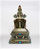 Electric Silver Om Mani Padme Hum Stupa Prayer Wheel