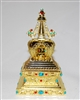 Electric Gold Plated Om Mani Padme Hum Stupa Prayer Wheel