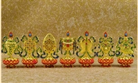 Gold Plated Double Sided Eight Auspicious Symbols Set