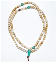 Tibetan Snow Crystal & Turquoise Mala - 108 Beads -5 mm