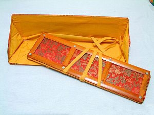 Small Sutra Text (  Pecha ) Cover Brocade and Bamboo