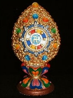 Hand Painted Precious Dharma Wheel 9 inches
