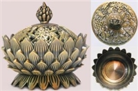 Lotus  Eight Auspicious Symbols Incense Burner Three Finishes