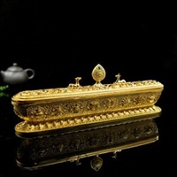 Large 8 Auspicious Om Mani Padme Hung Classic Gold Plated Incense Burner