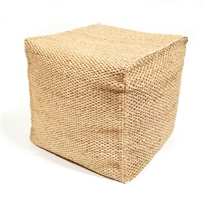 Cube Stool Hand woven Water Hyacinth 18'