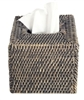 "Tissue Box Square Woven Rattan - Grey Wash 5.75x6.25"" (Min. 2).."