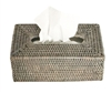 "Tissue Box Rectangular Woven Rattan - Grey Wash 10.5x5.75x4.25"" (Min. 2).."
