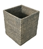 Waste Basket Square Woven Rattan - Grey Wash 9x9x10.5' (Min. 2)