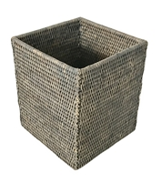 "Waste Basket Square Woven Rattan - Grey Wash 9x9x10.5"" (Min. 2).."