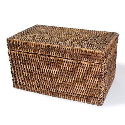 Rectangular Storage Basket  with Lid - AB 11.5x7x6.5'H