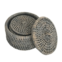 Coaster Set 6 Round w/ Box Knot WVR - Grey Wash 4.75x2.75' (Min. 2 sets)