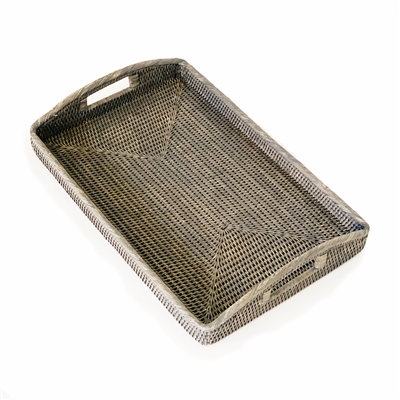 Tray Morning Rectangular Large WVR - Grey Wash 20.5x13.5x3' (Min. 2)