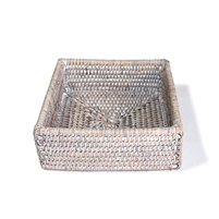 "Square Cocktail Napkin Box - WW 6.25x2.25""H.."