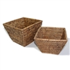 "Flower Basket Square Set 2 WVR - AB 9.5x6.5""H/8x6""H.."