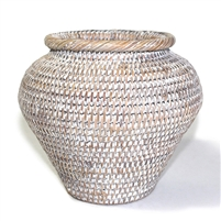 "Flower Basket Ginger Round Woven Rattan - White Wash 8x7""H.."