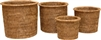 Set of 4 Nesting Flower Baskets with Round Rimmed - Antique Brown 9x8'H/8x7'H/7x6'H/6x5'H