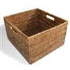 "Square Open Storage Basket w/ Cutout Handle - Antique Brown 15x14x9""H.."