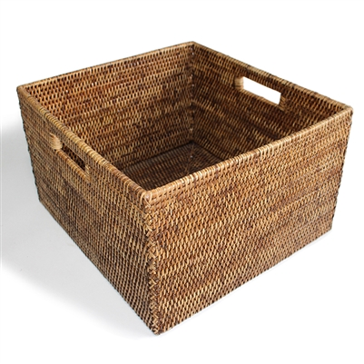 Square Open Storage Basket w/ Cutout Handle - Antique Brown 15x14x9'H