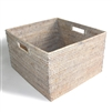 Square Open Storage Basket w/ Cutout Handle- White Wash 15x14x9'H