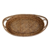 "Oval Tray  Open Lace Weave  - AB 21x14x2.75""H.."