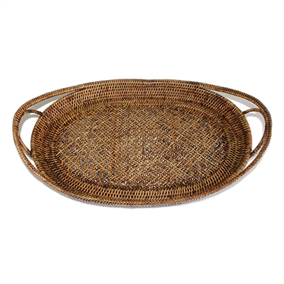Oval Tray  Open Lace Weave  - AB 21x14x2.75'H