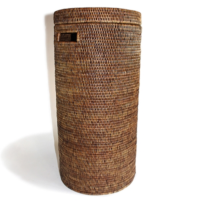 "Tall Round Hamper w/ Cut Out Handle on the Side - AB 13.5x28""H.."
