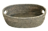 "Tray Bread w/ Handle Oval WVR - Grey Wash 13x9x4"" (Min. 2).."