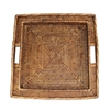 "Square Tray w/ Handle - AB 17x17x2.25""H.."