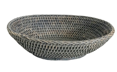 "Bowl Oval WVR - Grey Wash 11x8x3"" (Min. 2).."