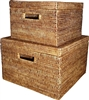 Square Storage Baskets with Cut Out Handle (Set of 2) - AB 12x8/15x10'