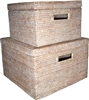 Square Storage Baskets with Cut Out Handle (Set of 2) -WW 12x8/15x10""