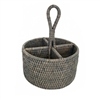 "Utensil Round Basket WVR - Grey Wash 8x5""/11"" (Min. 2).."