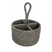 Utensil Round Basket WVR - Grey Wash 8x5'/11' (Min. 2)