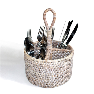 "Round Utensil  Basket - WW 8x5""/11"""